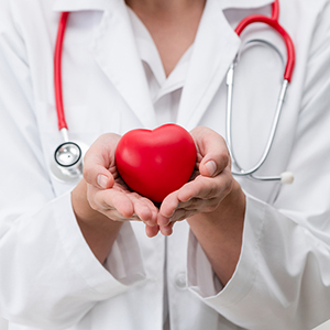 Doctor holding heart sculpture showing caring